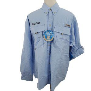 Columbia PFG Shirt S Aloha Blues Vented Fishing Lo